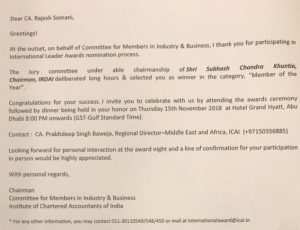 Letter from ICAI AWARD to Rajesh Somani